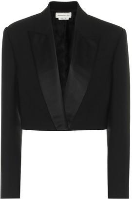 Alexander McQueen Cropped wool and silk-blend blazer