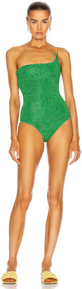 Oseree Lumiere One Shoulder Maillot Swimsuit in Green | FWRD