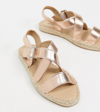 Simply Be extra wide fit strappy sandals in gold