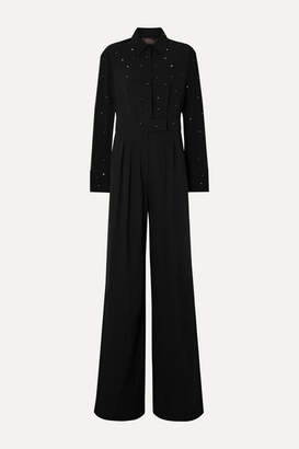 Max Mara Parana Crystal-embellished Silk-georgette And Crepe Jumpsuit - Black