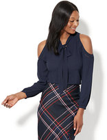 New York & Co. 7th Avenue - Cold-Shoulder Bow-Accent Blouse