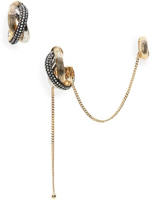 DEMARSON Greta Triple Hoop & Chain Ear Cuff & Earring Set