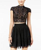 City Studios Juniors' 2-Pc. Lace Tulle A-Line Dress