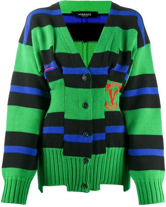 Versace Striped Intarsia-Knit Cardigan