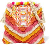 Antik Batik Frika Leather-trimmed Fringed Cotton Shoulder Bag - Pink