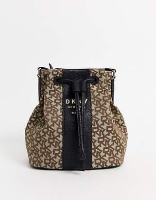 DKNY Drawstring bucket bag with monogram print-Multi