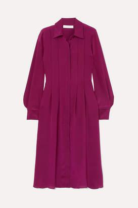 See by Chloe Pintucked Silk Crepe De Chine Dress - Fuchsia