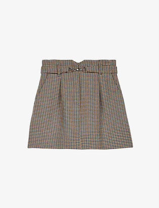 Maje Jeling Prince of Wales-checked wool-blend mini skirt