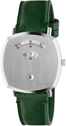 Gucci Men's Grip Square 3-Window Watch with Leather Strap