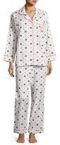 BedHead Queen Long-Sleeve Pajama Set, White/Black, Plus Size