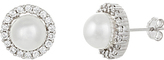 Bliss Pearl Halo Stud Earrings With Swarovski® Crystals