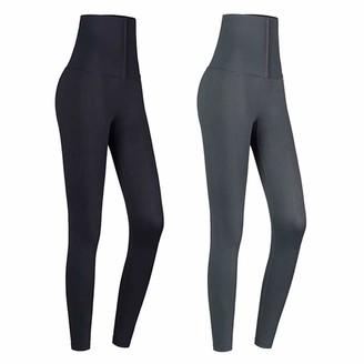 HOAOR Women High Waist Leggings Tummy Control Fitness Sports Yoga Pants Corset Slim (Gray M)