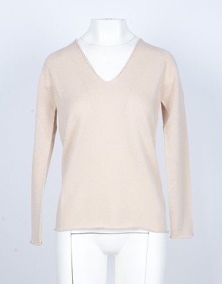 Lamberto Losani Beige Cashmere Women's V-Neck Sweater