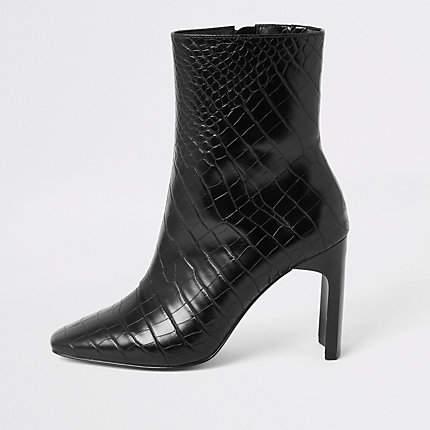 River Island Black croc embossed high heel ankle boot