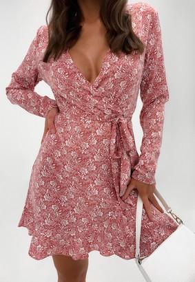 Missguided Red Floral Wrap Ruffle Hem Tea Dress