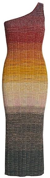 Missoni Ombre One-Shoulder Wool-Blend Knit Midi Dress