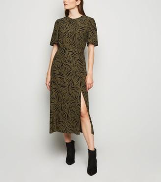 New Look Tiger Print Side Split Midi Dress