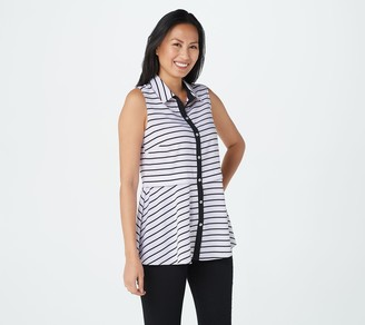 Dennis Basso Solid or Striped Woven Sleeveless Peplum Shirt