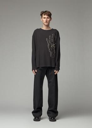 Yohji Yamamoto Men's Asakura Long Sleeve T-Shirt in Black Size 3 100% Cotton