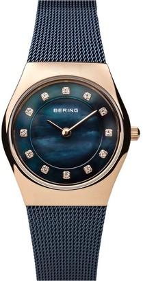 Bering Women's Mother-of-Pearl Mesh Bracelet Watch