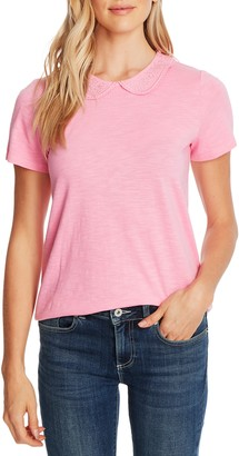 CeCe Embroidered Collar Short Sleeve Cotton Blend Top