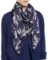 Escada Tropical-Print Silk Satin Square Scarf