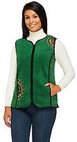 Bob Mackie As Is Bob Mackie's Zip Front Embroidered Fleece Vest