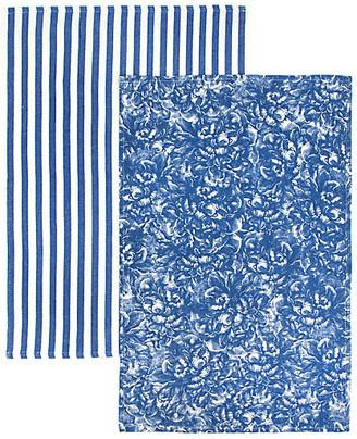 One Kings Lane Set of 2 Peony Stripe Kitchen Towels - Blue/White