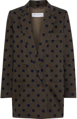 Max Mara Lago Double-breasted Polka-dot Cotton-twill Blazer
