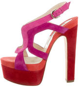 Brian Atwood Suede Multicolor Sandals