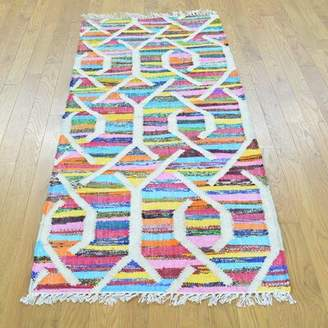 "Jaren One-of-a-Kind Handmade Kilim Runner 2'7"" x 6' Wool Yellow/Blue/Pink Area Rug Isabelline"