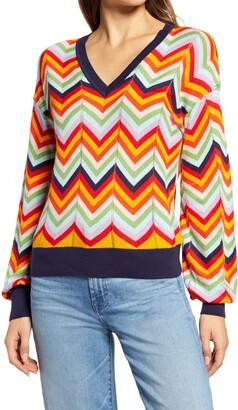 Halogen Chevron V-Neck Sweater