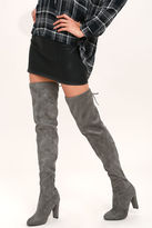 Alison Charcoal Suede Thigh High Boots