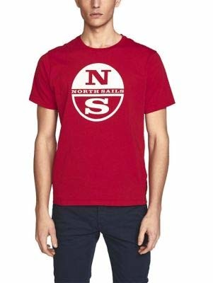 North Sails Men's T-Shirt in Red Cotton Jersey Regular Fit with Short Sleeves and Crew Neckline - XXL