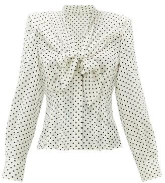 Dolce & Gabbana Tie-front Polka Dot-print Silk Blouse - Womens - White Black