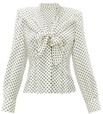 Dolce & Gabbana Tie-front Polka-dot Silk Blouse - White Black