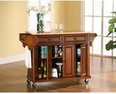 Crosley 52 in. Natural Wood Top Kitchen Island Cart in Cherry
