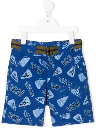 Little Marc Jacobs Belted Logo Print Shorts