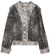 Christopher Kane Frayed Metallic Wool-blend Bouclé-tweed Jacket - Gray