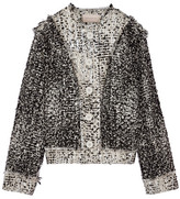 Christopher Kane Frayed metallic wool-blend bouclé-tweed jacket