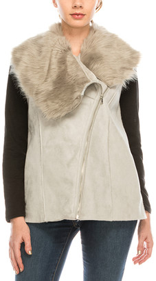 Urban Diction Women's Outerwear Vests Light - Light Gray Faux-Fur Suede Vest - Women