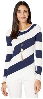 Lilly Pulitzer Cadee Sweater (True Navy Party in Paradise Diagonal Stripe) Women's Clothing