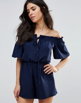 Oh My Love Off Shoulder Tie Front Romper
