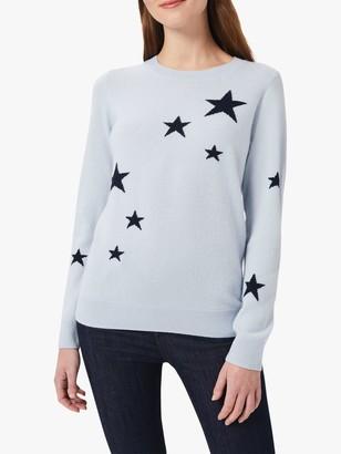 Hobbs Samira Wool Cashmere Blend Star Print Jumper, Pale Blue