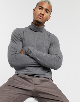ONLY & SONS long sleeve jersey roll neck in grey