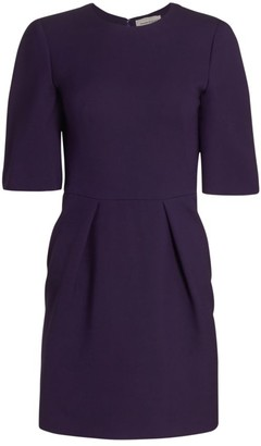 Alexander McQueen Wool & Silk Pleated Mini Dress