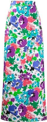 Plan C Floral Print Maxi Skirt