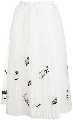 Ermanno Scervino Pleated Embellished Organza Skirt