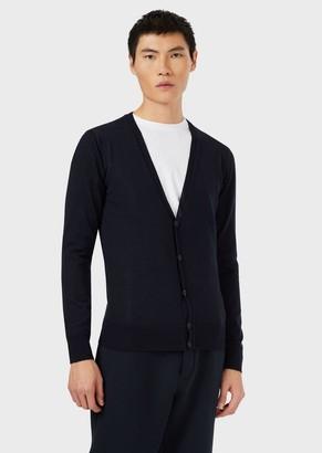 Emporio Armani Cardigan In Plain-Knit, Pure Virgin Wool