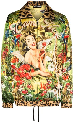 Dolce & Gabbana Tropical Pin Up bomber jacket